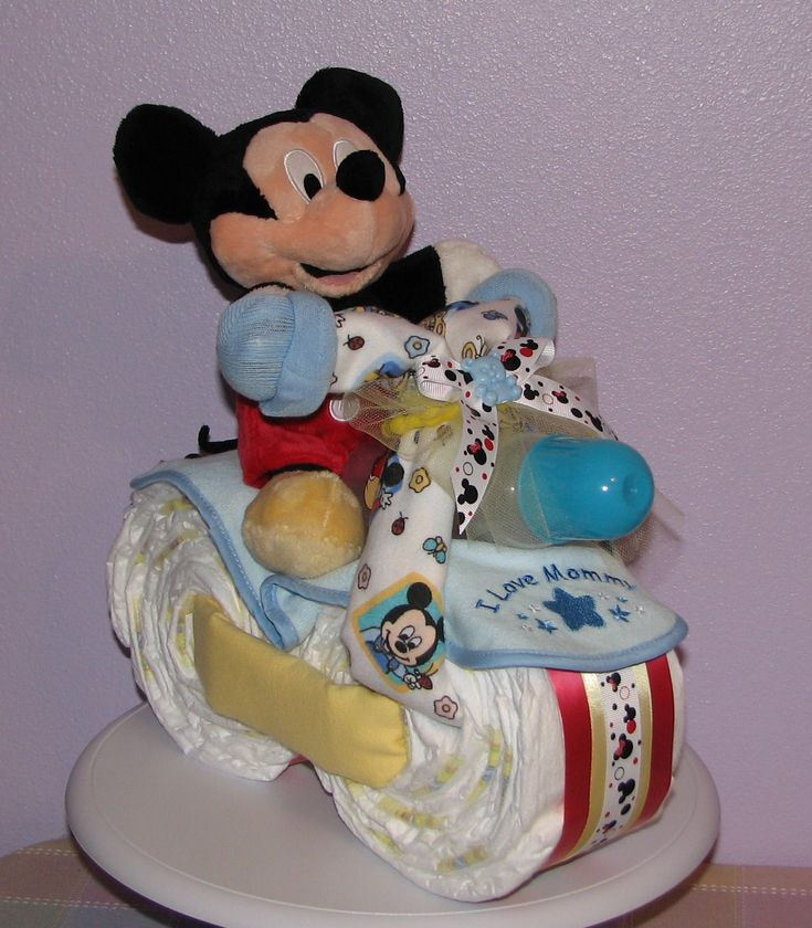 mickey mouse diaper cake baby shower ideas pinterest