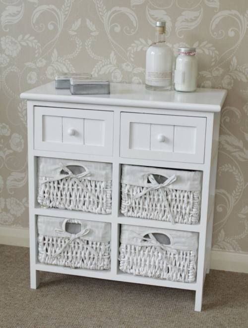 white side cabinet storage wicker unit 2 drawers table hall bedside