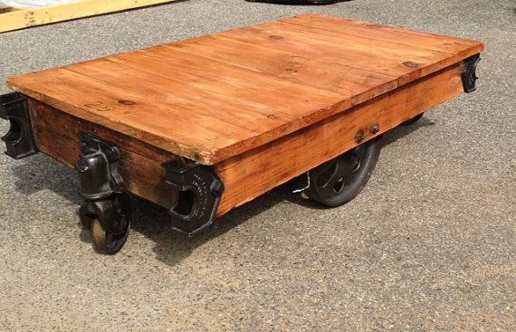 Industrial Warehouse Furniture Cart Coffee Table Wood Reclaimed