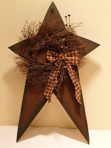 Star and wreath berries country primitive home decor for Country star decorations home