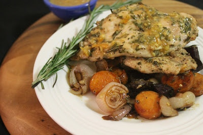 Herb Roasted Chicken with Tangy Squash and Dijon Sauce on www ...