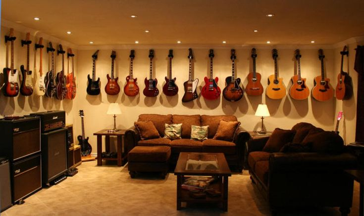 Guitar Filled Man Cave Studio Music Pinterest