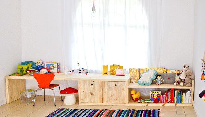 fantastic kids workspace w/ built-in storage