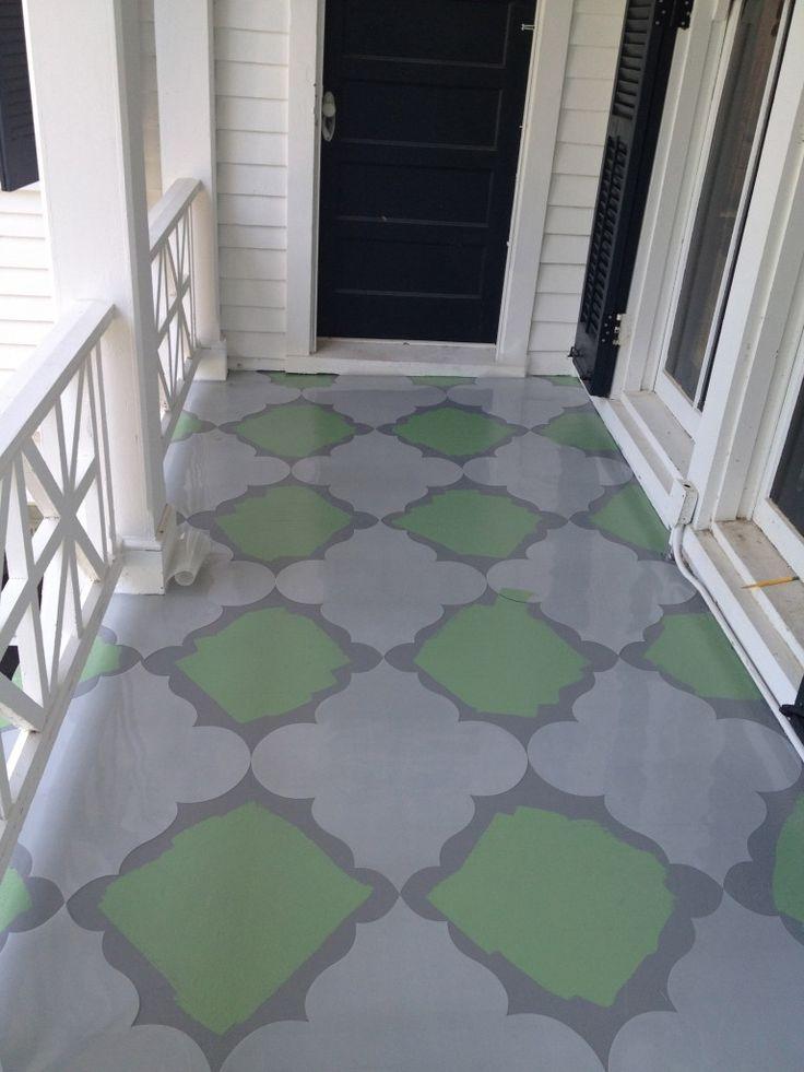 Floor stencils deck and porch ideas pinterest for Floor stencils