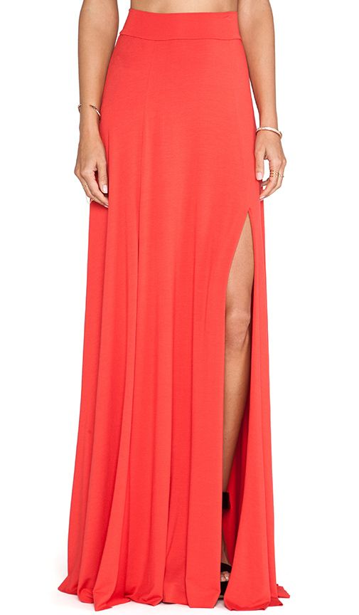 coral maxi skirt and a t shirt
