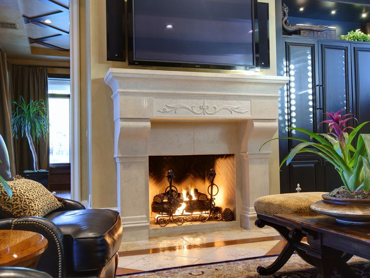 Inviting gas fireplace in family room luxury home for Luxury fireplaces luxury homes
