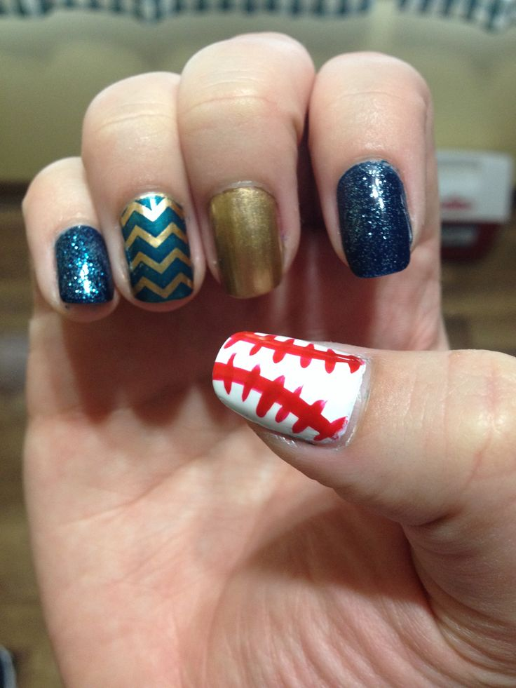 Milwaukee Brewers Nails - Baseball Nails | Baseball nails | Pinterest