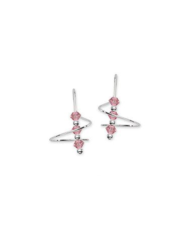 Loving this silver light rose crystal beaded earspiral earrings on