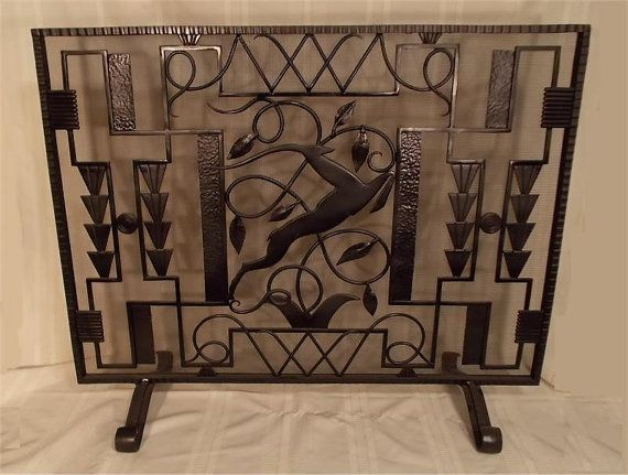 Custom Made Hand Wrought Iron Fireplace Screen Leaping Gazelle