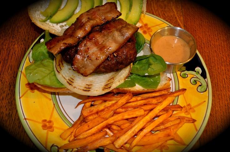 Chili-glazed, Bleu Cheese Stuffed Burgers with Sweet Potato Fries and ...