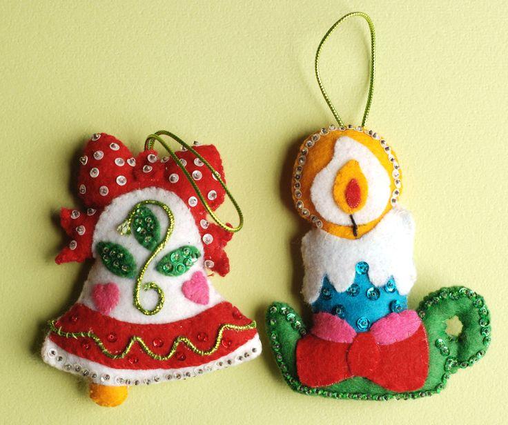 Vintage Christmas Ornaments Felt Sequins Bell Candle, via Etsy.