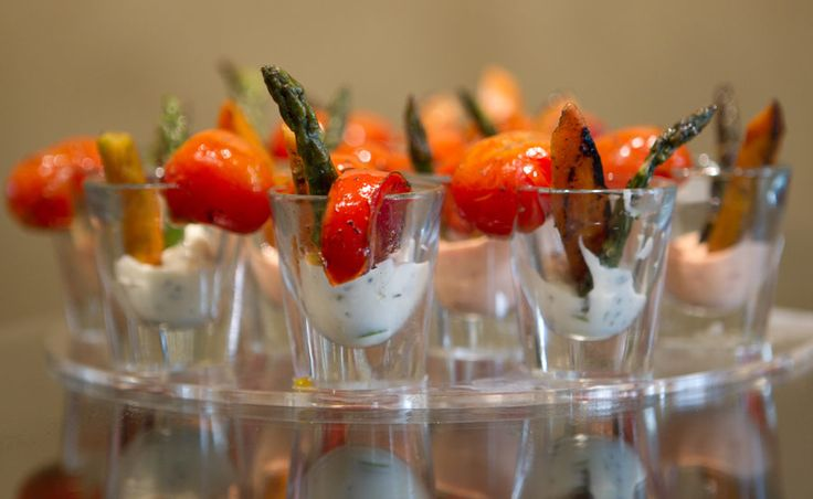 Oh my... Fire roasted vegetable shooter with rosemary garlic aioli