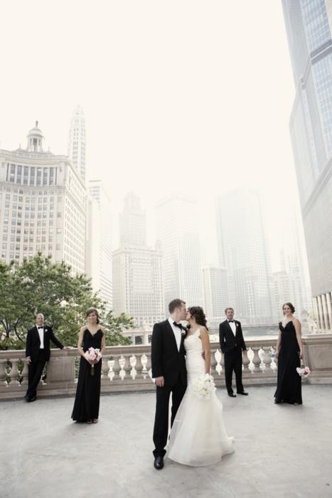 city wedding/ black bridesmaid dresses