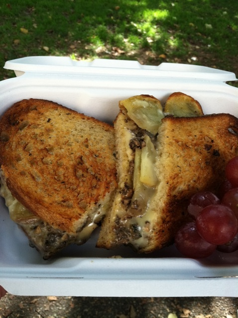 Mushroom, yukon gold potatoes and gruyere grilled cheese sandwich. The ...