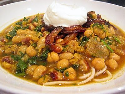 Persian New Year Noodle Soup with chick peas, chili, turmeric, split ...