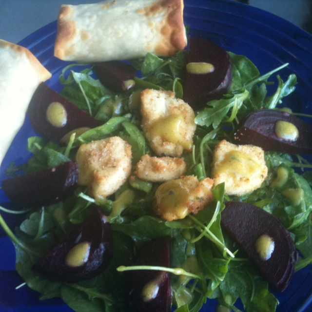 roasted beet spinach arugula salad with broiled, breaded goat cheese ...
