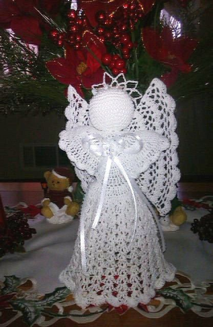 Free Crochet Patterns Christmas Tree Topper : Beautiful Hand crochet White angel Tree topper by ...