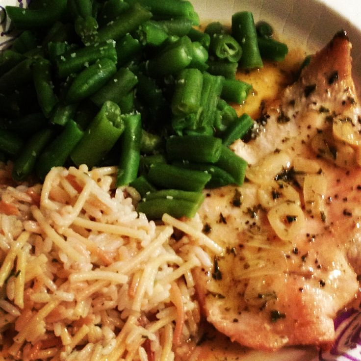 ... garlic-lemon-wine reduction, homemade rice-a-roni, and green beans