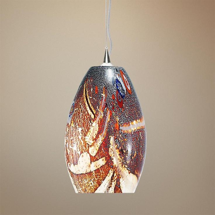 lbl monty 7 1 2 wide mocha murano glass pendant light. Black Bedroom Furniture Sets. Home Design Ideas