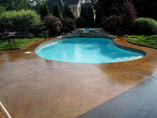 Acid Stained Concrete Pool Deck Home Decor Pinterest