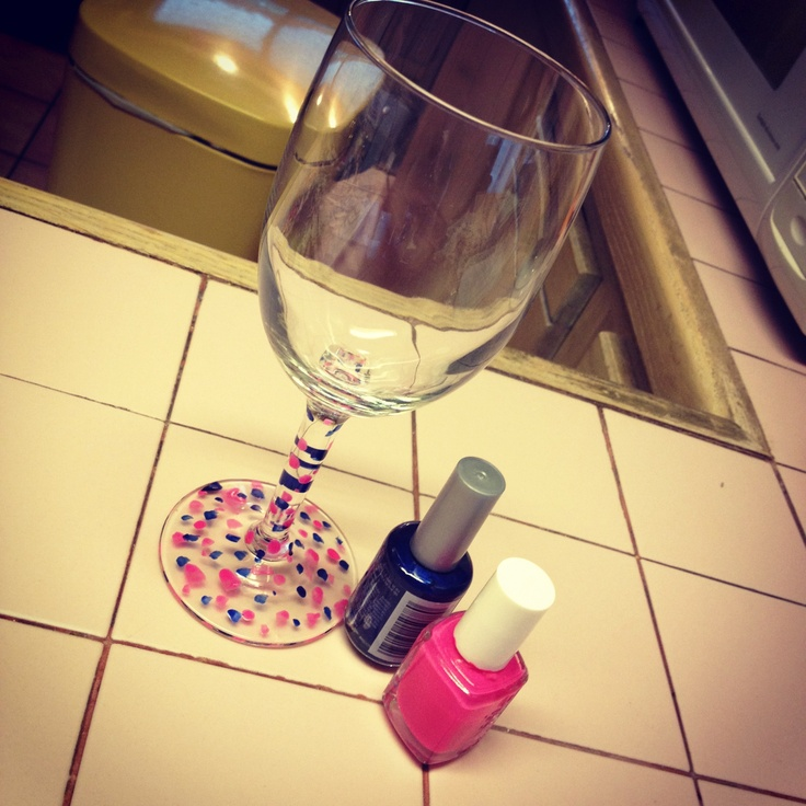 Paint Glasses Frame With Nail Polish : Nail polish painted wine glass :) gifts Pinterest