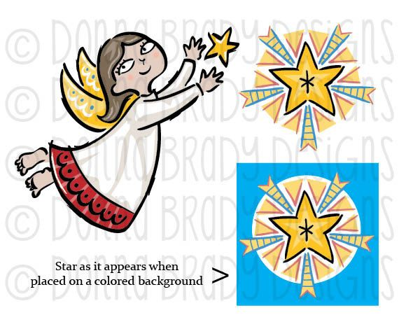 Country Christmas Nativity Angel and Star Digital Clip Art $5 on Etsy ...