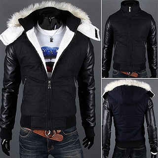Leather Sleeve Fleece Puffer Jacket with Removable Hood