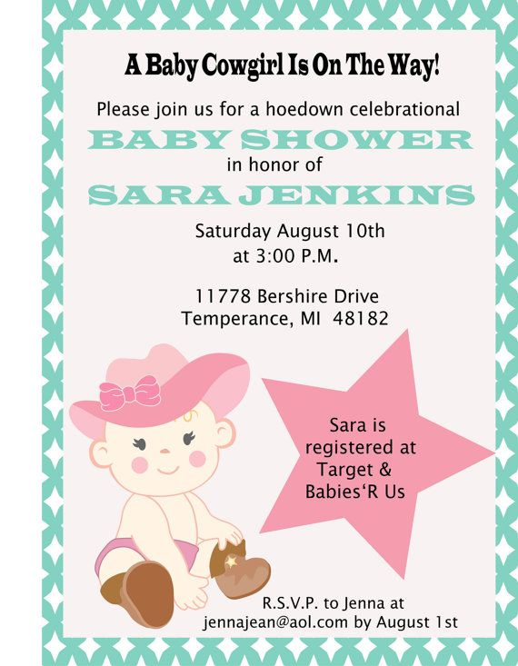 cute cowgirl baby shower invitation diy by storkbabygifts on etsy 10