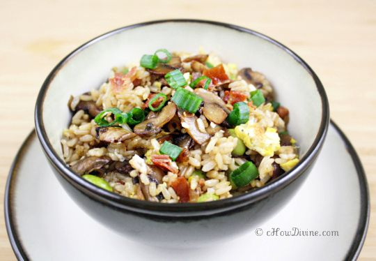 Fried Rice with Mushrooms and Prosciutto.