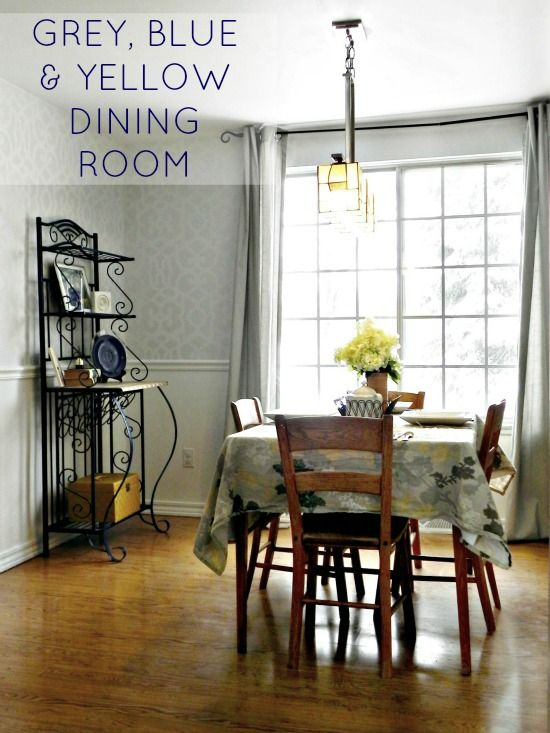 our blue grey and yellow dining room