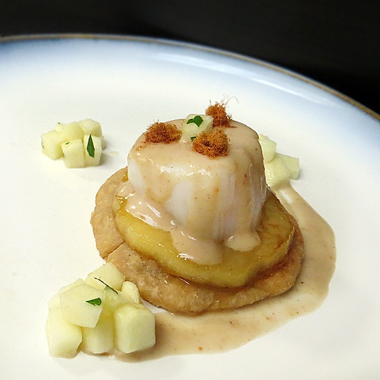 ... Caramelized Apples with Scallop and Peanut Butter Coconut Milk Nage