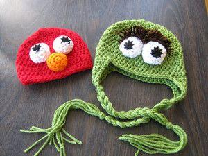 Free Crochet Pattern For Elmo Beanie : PATTERN Crochet Elmo & Oscar the Grouch Beanie/hat/cap-4 sizes