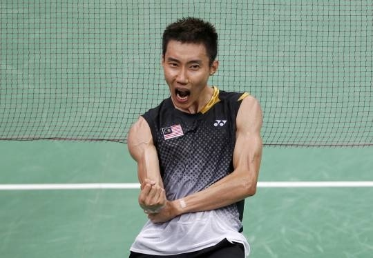 Datuk Lee Chong Wei celebrates his win over China's Chen Long during their men's singles badminton semifinals at the London 2012 Olympic Games August 3, 2012. — Reuters pic