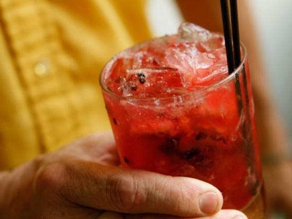Cherry Bomb-1 peeled orange section ice 1 ½ oz gin 1 oz sweet cherry ...