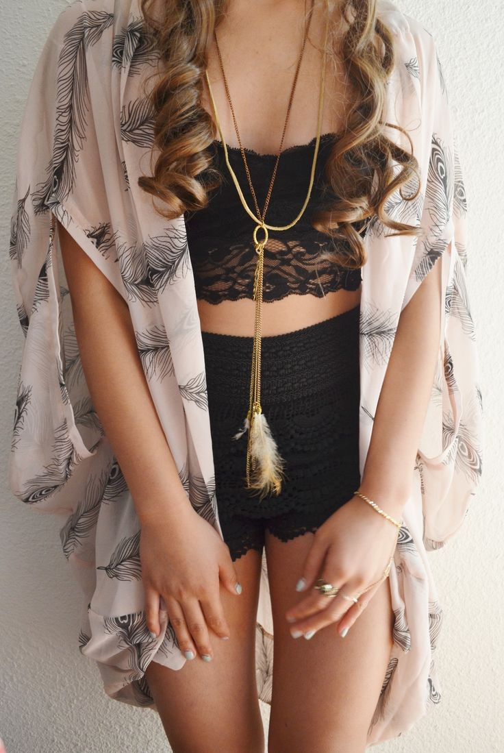 kimono wrap, lace bralette, crochet shorts
