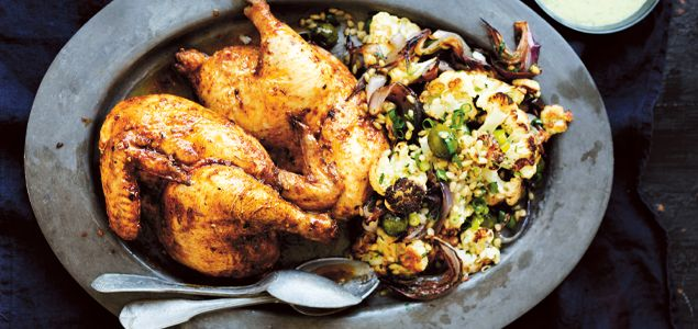Moroccan Spiced Roast Chicken with Barley and Cauliflower Salad ...
