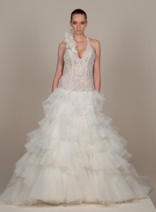 ligne licol robe de mariage en organza  Robes de mariée A-ligne ...