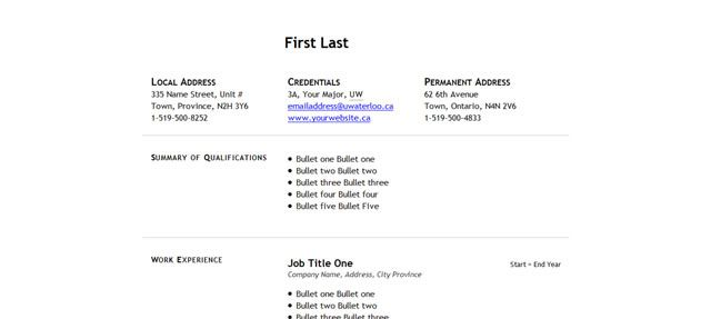 Example Resume Resume Templates With Columns