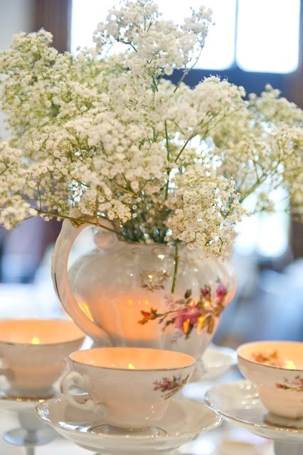 Flower Arrangements, baby breath in a jar