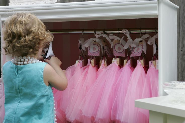 """A place for guests to get their tu-tu for this """"Tutu's & Teacups"""" party - cuteness overload! #party #kidsparty"""