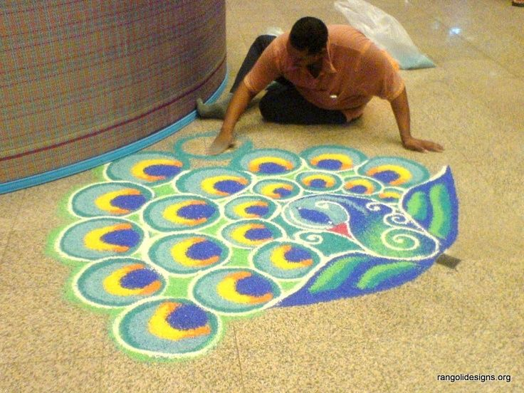 Peacock rangoli design rangoli designs pinterest for Floor rangoli design