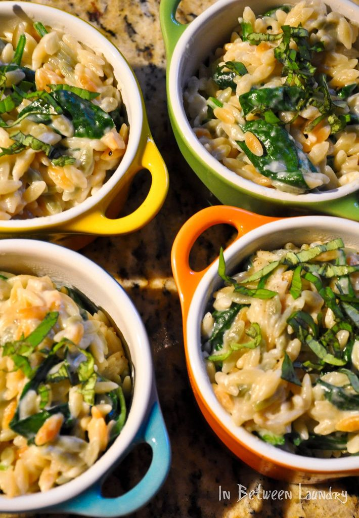 orzo salad with spinach
