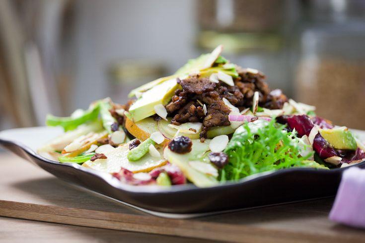 Asian Pear & Lemon Cucumber Salad with Rosemary Molasses Tempeh Bits ...