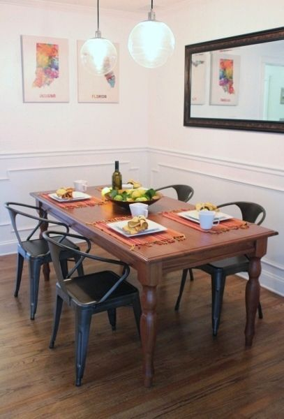 farmhouse table and vintage metal chairs