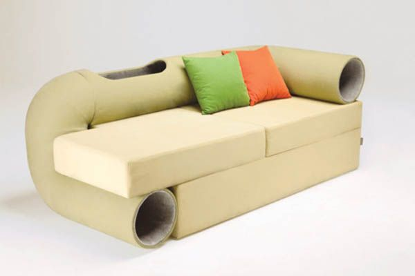 Smart Space-Saving Hybrid Furniture: Cat Tunnel Sofa    Personally I think this is really ugly, but the idea has promise.  It would be interesting to see this concept done with a more attractive design.