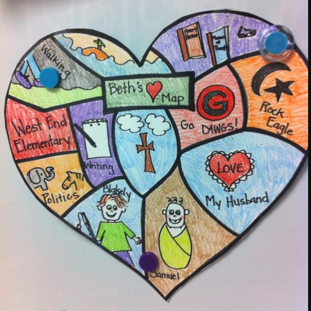 Heart Map for writing ideas First Week of School Pinterest