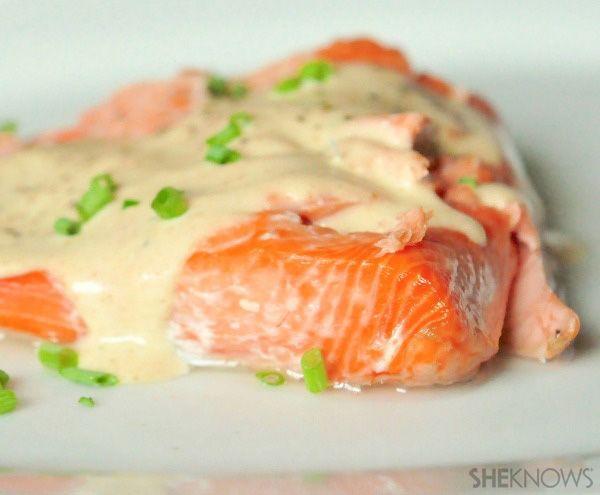 Baked salmon with brown butter sauce   comida saudável : healthy food ...
