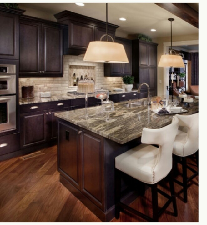dark cabinets light granite kitchen new house pinterest