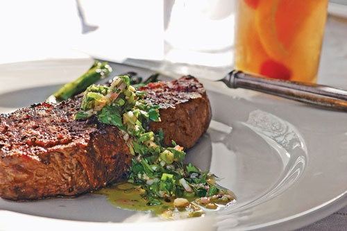 Recipe: Pan-Seared Peppered Strip Steak with Border Chimichurri