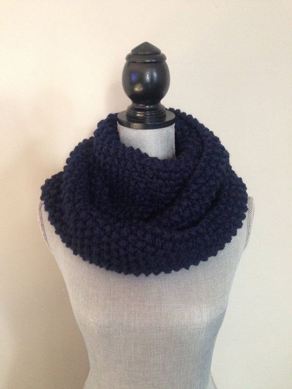 Knit Scarf, Knit Infinity Scarf, Chunky Knit Scarf In Navy ...